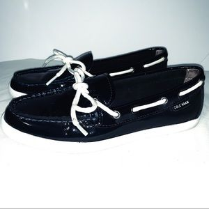 Cole Haan Patent Leather Navy Blue Loafers Size 7